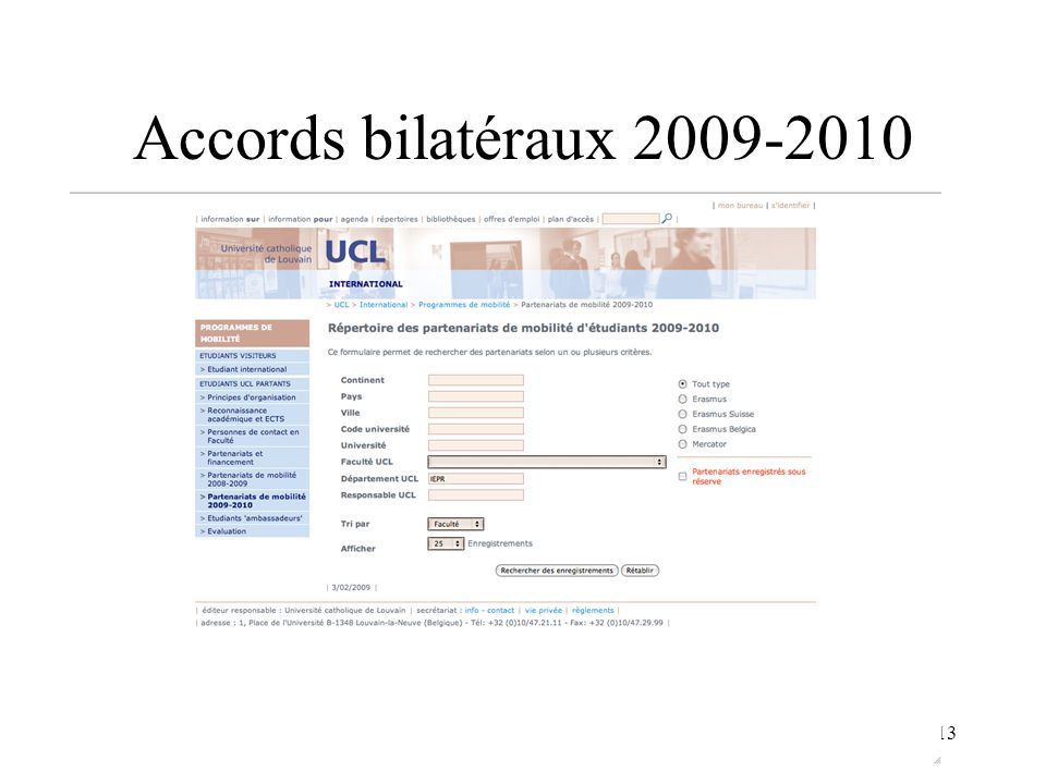 13 Accords bilatéraux 2009-2010