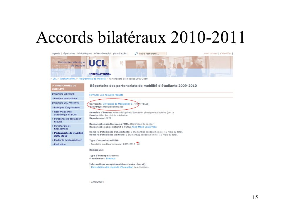 15 Accords bilatéraux 2010-2011