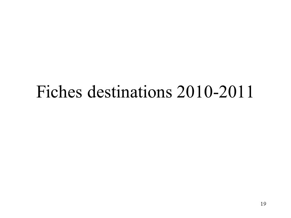 19 Fiches destinations 2010-2011