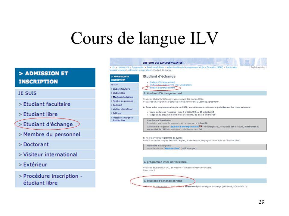 29 Cours de langue ILV