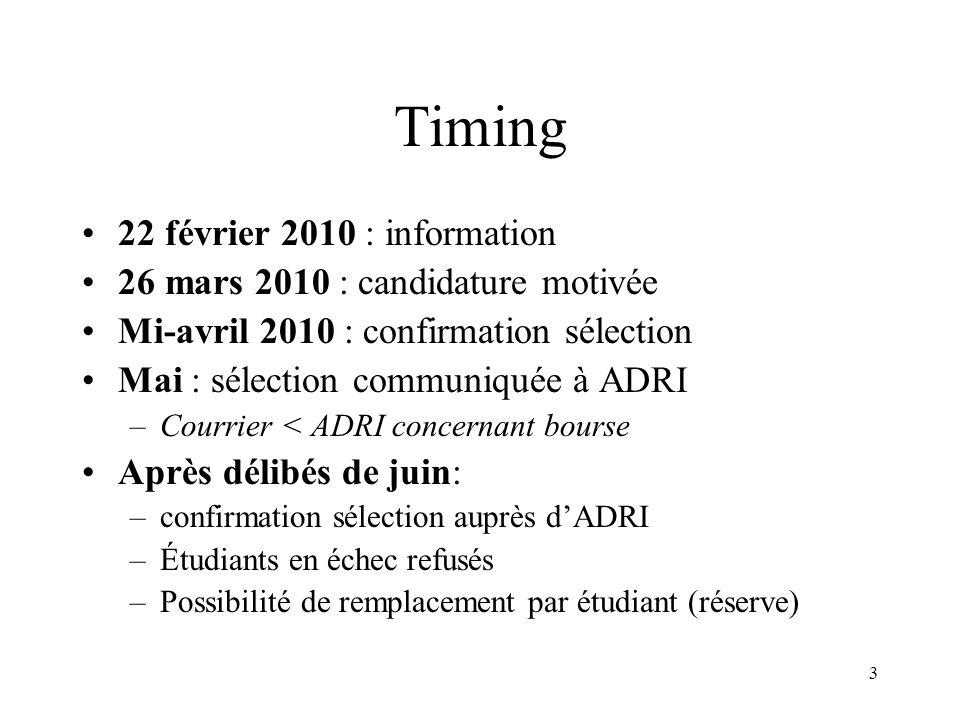 4 Critères de sélection Critères académiques Projet individuel (fond) Respect de la procédure (forme)