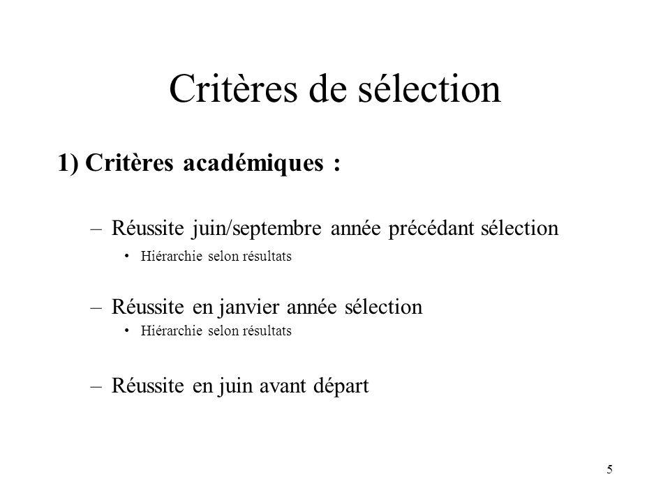 5 Critères de sélection 1) Critères académiques : –Réussite juin/septembre année précédant sélection Hiérarchie selon résultats –Réussite en janvier année sélection Hiérarchie selon résultats –Réussite en juin avant départ