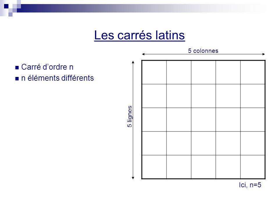 Superposition de ces 2 carrés latins orthogonaux 1A1A 2B2B 3C3C 4D4D 5E5E 2E2E 3A3A 4B4B 5C5C 1D1D 3D3D 4E4E 5A5A 1B1B 2C2C 4C4C 5D5D 1E1E 2A2A 3B3B 5B5B 1C1C 2D2D 3E3E 4A4A