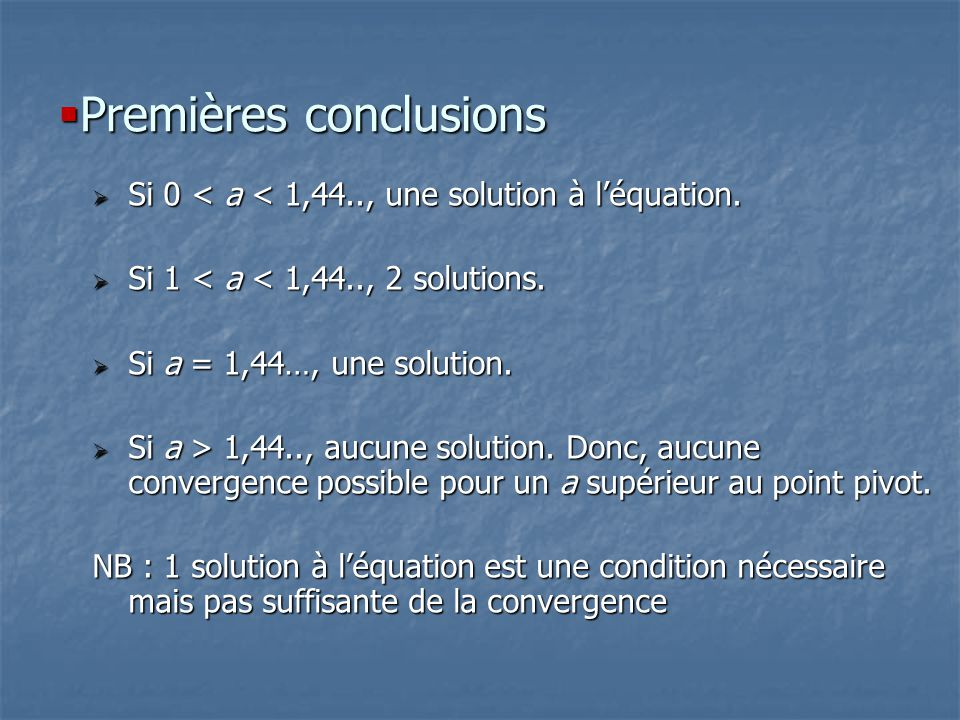 Premières conclusions Premières conclusions Si 0 < a < 1,44.., une solution à léquation. Si 0 < a < 1,44.., une solution à léquation. Si 1 < a < 1,44.