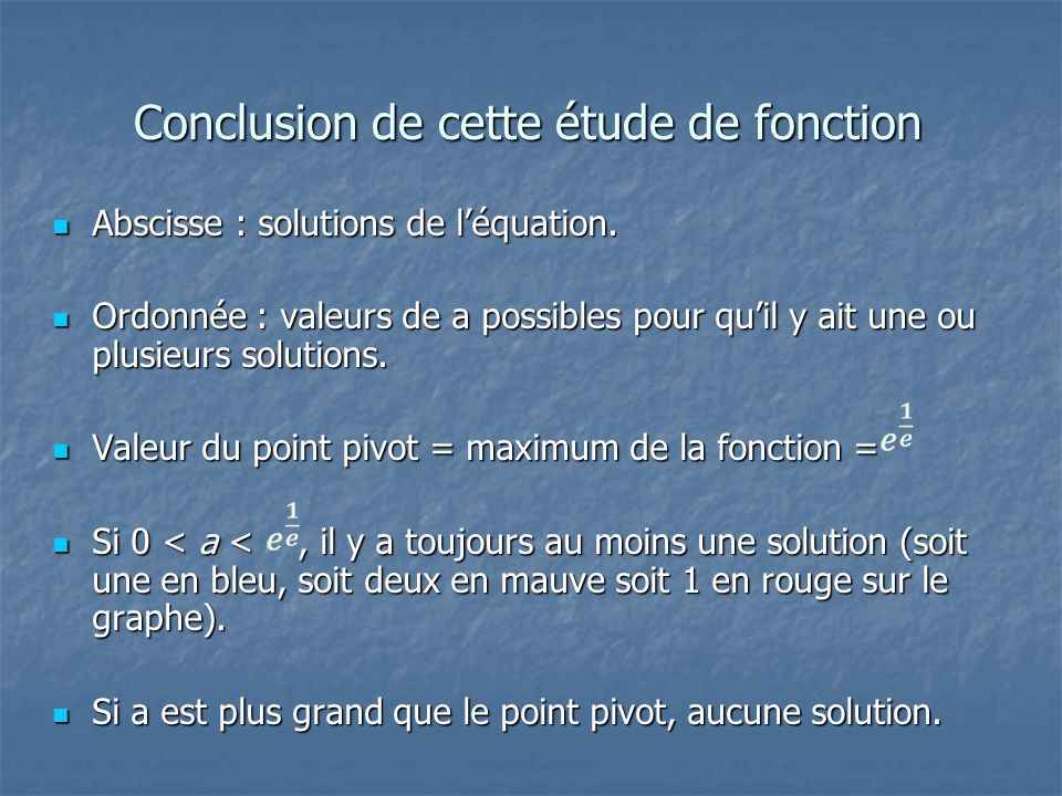 Conclusion de cette étude de fonction Abscisse : solutions de léquation. Abscisse : solutions de léquation. Ordonnée : valeurs de a possibles pour qui