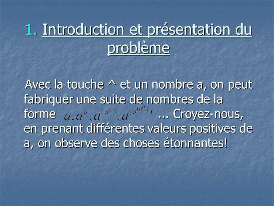 1. Introduction et présentation du problème Avec la touche ^ et un nombre a, on peut fabriquer une suite de nombres de la forme... Croyez-nous, en pre