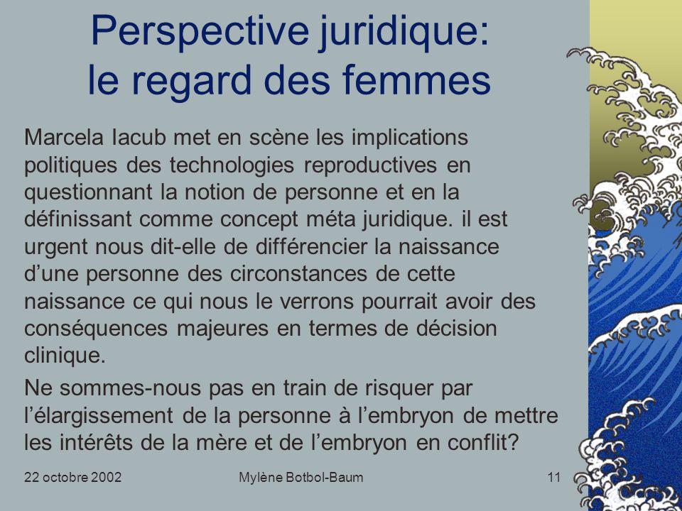 22 octobre 2002Mylène Botbol-Baum11 Perspective juridique: le regard des femmes Marcela Iacub met en scène les implications politiques des technologies reproductives en questionnant la notion de personne et en la définissant comme concept méta juridique.