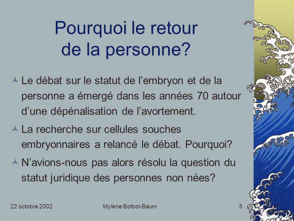 22 octobre 2002Mylène Botbol-Baum3 Pourquoi le retour de la personne? Le débat sur le statut de lembryon et de la personne a émergé dans les années 70