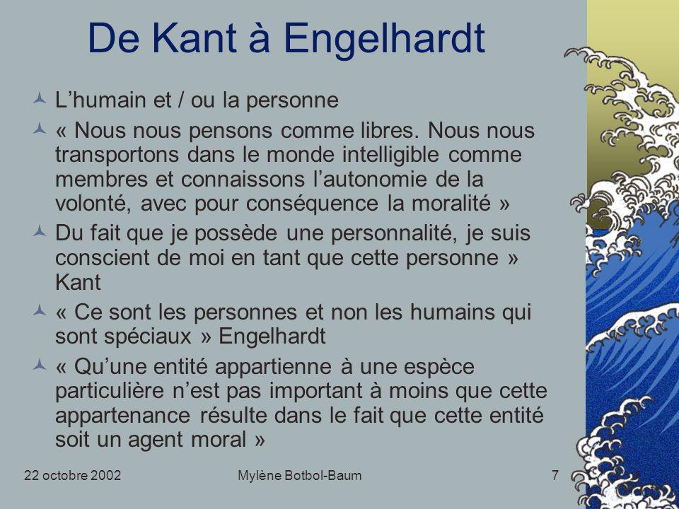 22 octobre 2002Mylène Botbol-Baum7 De Kant à Engelhardt Lhumain et / ou la personne « Nous nous pensons comme libres. Nous nous transportons dans le m