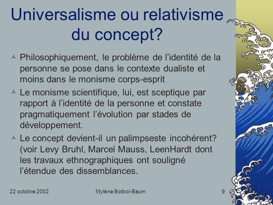 22 octobre 2002Mylène Botbol-Baum9 Universalisme ou relativisme du concept? Philosophiquement, le problème de lidentité de la personne se pose dans le