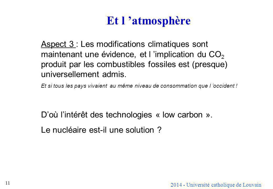 2014 - Université catholique de Louvain 11 Et l atmosphère Aspect 3 : Les modifications climatiques sont maintenant une évidence, et l implication du