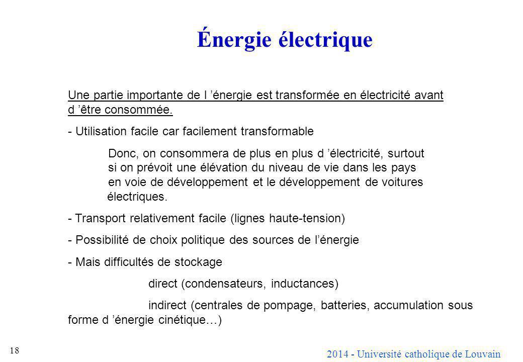 2014 - Université catholique de Louvain 18 Énergie électrique Une partie importante de l énergie est transformée en électricité avant d être consommée