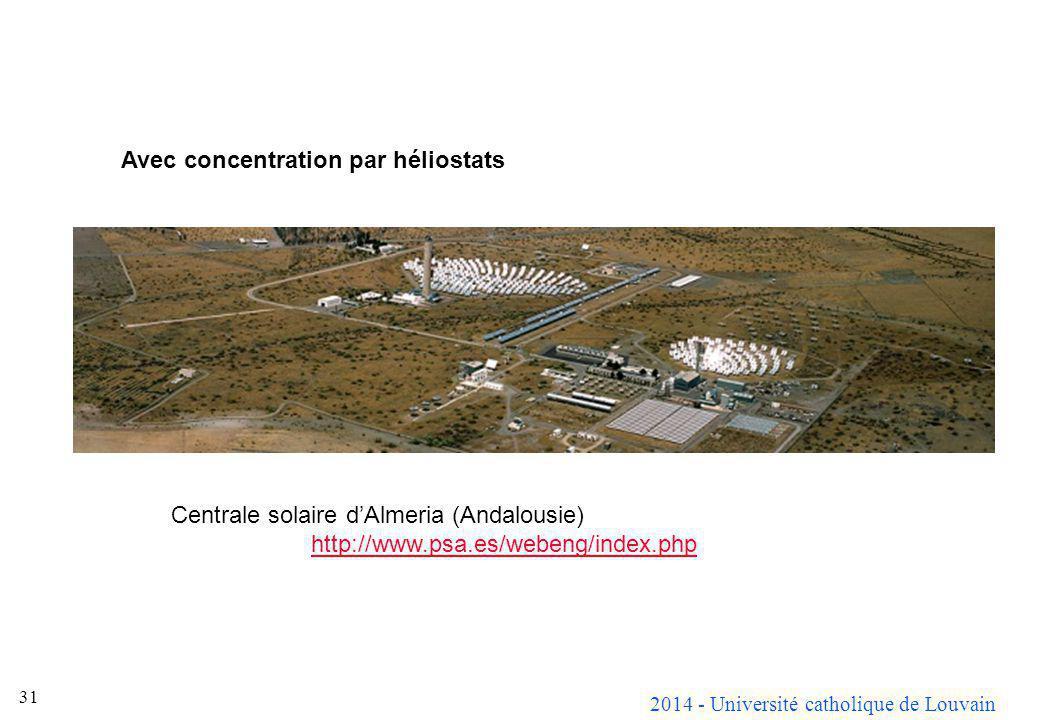 2014 - Université catholique de Louvain 31 Avec concentration par héliostats Centrale solaire dAlmeria (Andalousie) http://www.psa.es/webeng/index.php