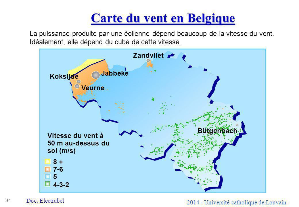 2014 - Université catholique de Louvain 34 Carte du vent en Belgique Doc. Electrabel La puissance produite par une éolienne dépend beaucoup de la vite