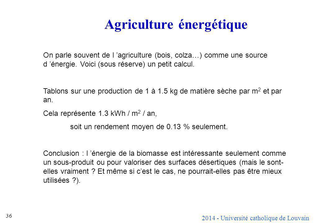 2014 - Université catholique de Louvain 36 Agriculture énergétique On parle souvent de l agriculture (bois, colza…) comme une source d énergie. Voici