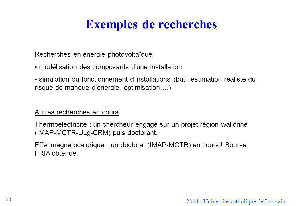 2014 - Université catholique de Louvain 38 Exemples de recherches Recherches en énergie photovoltaïque modélisation des composants dune installation s