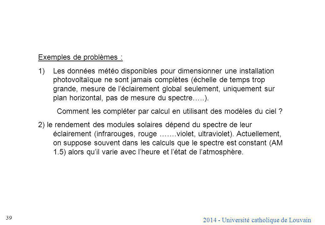 2014 - Université catholique de Louvain 39 Exemples de problèmes : 1)Les données météo disponibles pour dimensionner une installation photovoltaïque n