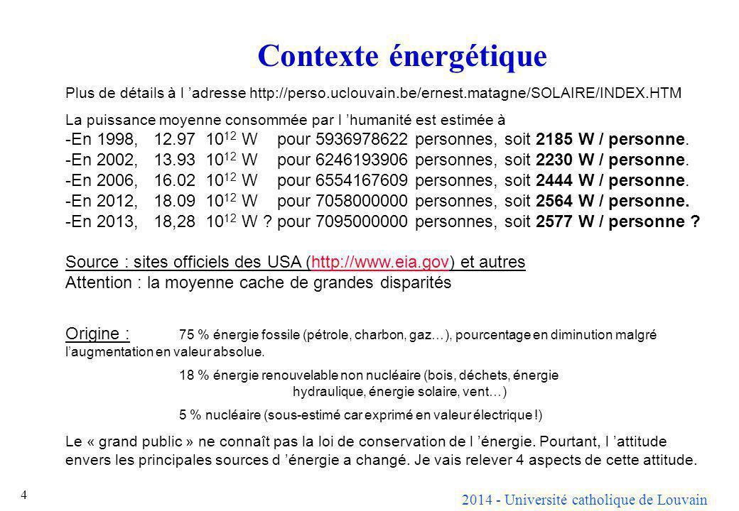 2014 - Université catholique de Louvain 4 Contexte énergétique Plus de détails à l adresse http://perso.uclouvain.be/ernest.matagne/SOLAIRE/INDEX.HTM