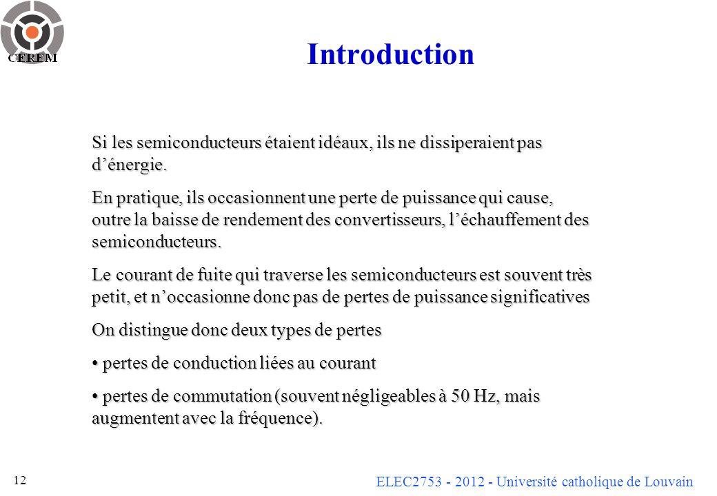ELEC2753 - 2012 - Université catholique de Louvain 12 Introduction Si les semiconducteurs étaient idéaux, ils ne dissiperaient pas dénergie. En pratiq