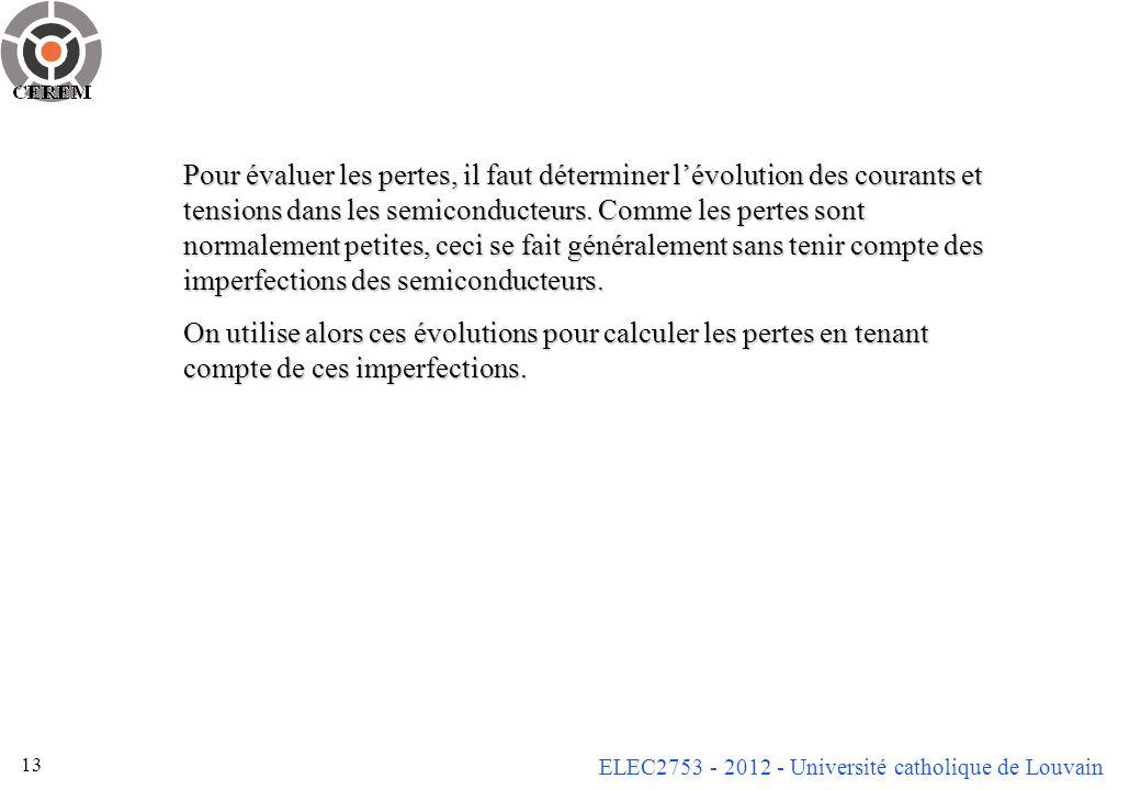 ELEC2753 - 2012 - Université catholique de Louvain 13 Pour évaluer les pertes, il faut déterminer lévolution des courants et tensions dans les semicon