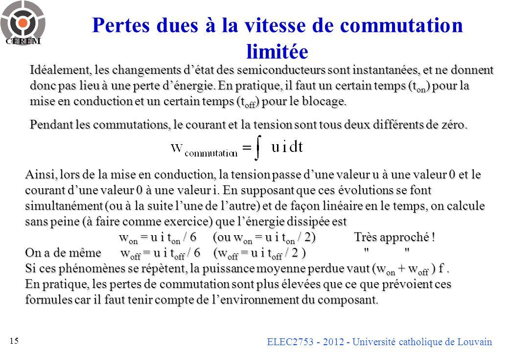 ELEC2753 - 2012 - Université catholique de Louvain 15 Pertes dues à la vitesse de commutation limitée Idéalement, les changements détat des semiconducteurs sont instantanées, et ne donnent donc pas lieu à une perte dénergie.