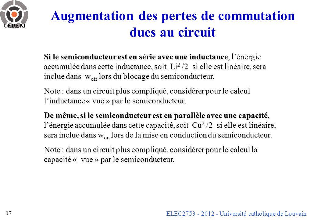 ELEC2753 - 2012 - Université catholique de Louvain 17 Augmentation des pertes de commutation dues au circuit Si le semiconducteur est en série avec un