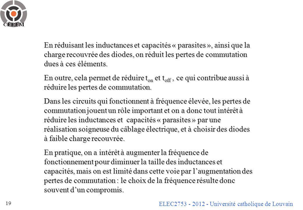 ELEC2753 - 2012 - Université catholique de Louvain 19 En réduisant les inductances et capacités « parasites », ainsi que la charge recouvrée des diode