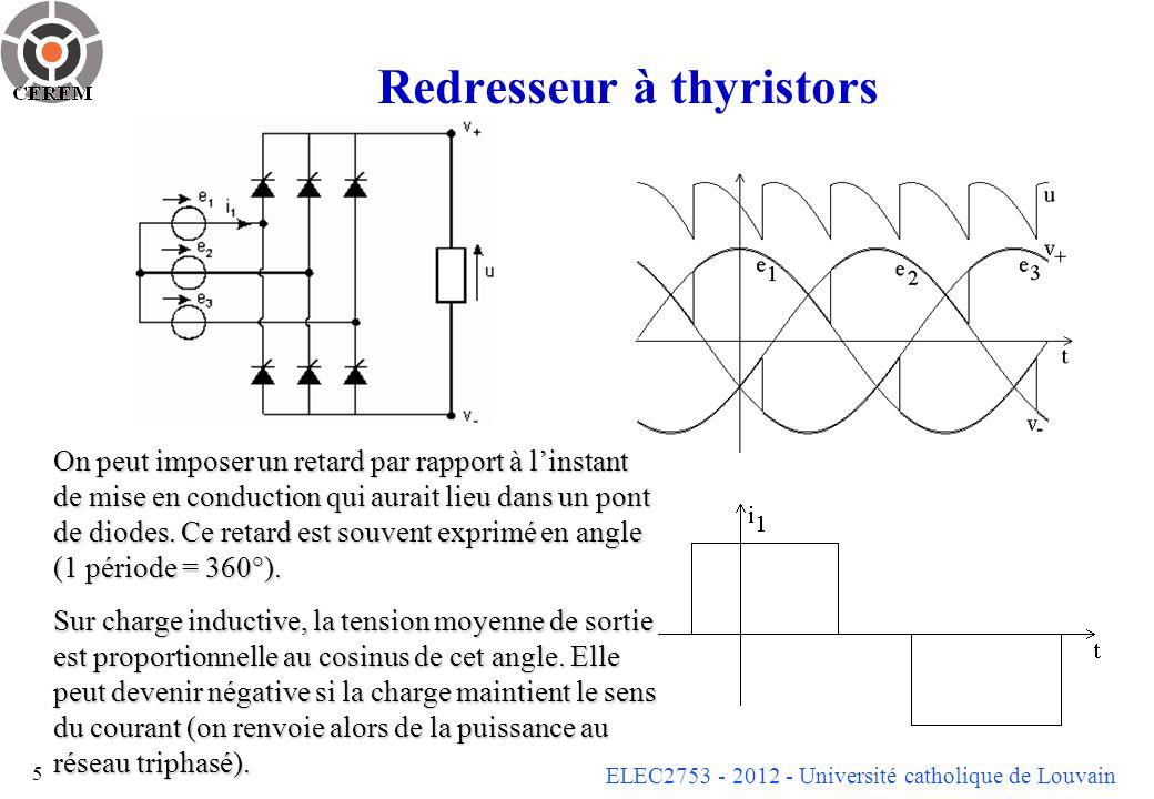 ELEC2753 - 2012 - Université catholique de Louvain 6 Onduleur triphasé de tension (commande pleine onde)