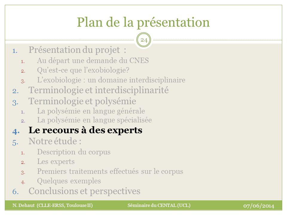 Plan de la présentation 07/06/2014 N. Dehaut (CLLE-ERSS, Toulouse II) Séminaire du CENTAL (UCL) 24 1. Présentation du projet : 1. Au départ une demand