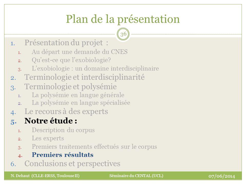 Plan de la présentation 07/06/2014 N. Dehaut (CLLE-ERSS, Toulouse II) Séminaire du CENTAL (UCL) 36 1. Présentation du projet : 1. Au départ une demand