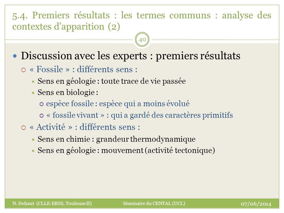 07/06/2014 N. Dehaut (CLLE-ERSS, Toulouse II) Séminaire du CENTAL (UCL) 40 5.4. Premiers résultats : les termes communs : analyse des contextes dappar