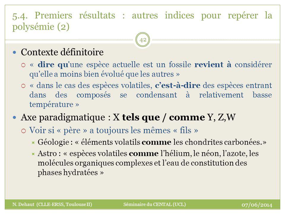 07/06/2014 N. Dehaut (CLLE-ERSS, Toulouse II) Séminaire du CENTAL (UCL) 42 5.4. Premiers résultats : autres indices pour repérer la polysémie (2) Cont