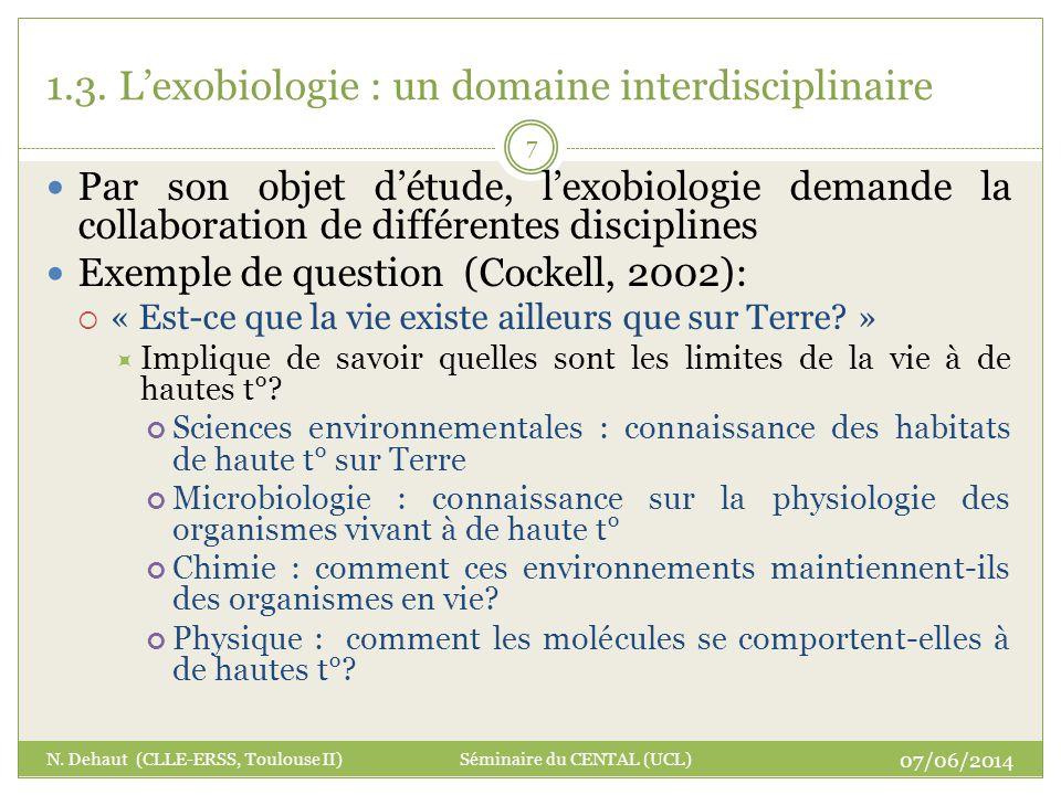 1.3. Lexobiologie : un domaine interdisciplinaire Par son objet détude, lexobiologie demande la collaboration de différentes disciplines Exemple de qu