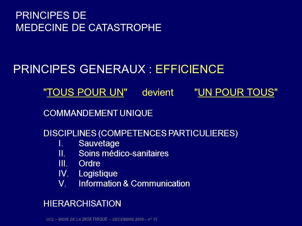 UCL – MIDIS DE LA BIOETHIQUE – DECEMBRE 2008 – n° 15 PRINCIPES GENERAUX : EFFICIENCE