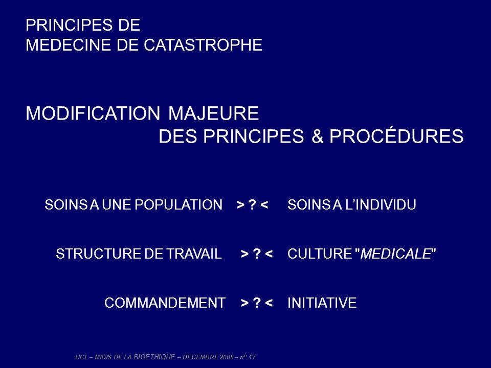 UCL – MIDIS DE LA BIOETHIQUE – DECEMBRE 2008 – n° 17 MODIFICATION MAJEURE DES PRINCIPES & PROCÉDURES SOINS A UNE POPULATION > ? < SOINS A LINDIVIDU ST