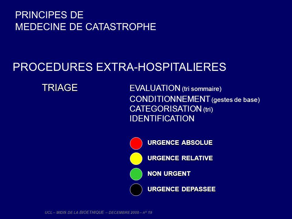 UCL – MIDIS DE LA BIOETHIQUE – DECEMBRE 2008 – n° 19 PROCEDURES EXTRA-HOSPITALIERES TRIAGE TRIAGE EVALUATION (tri sommaire) CONDITIONNEMENT (gestes de
