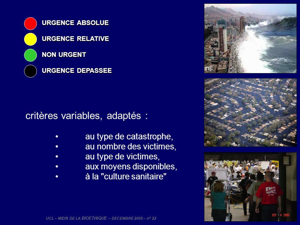 UCL – MIDIS DE LA BIOETHIQUE – DECEMBRE 2008 – n° 22 critères variables, adaptés : au type de catastrophe, au nombre des victimes, au type de victimes