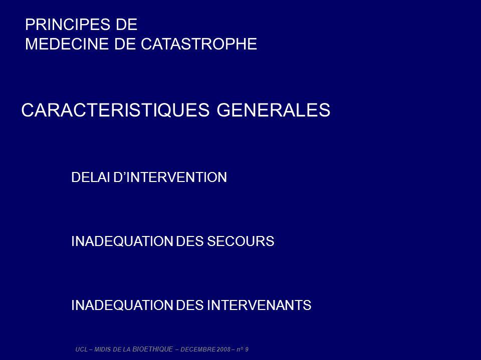 UCL – MIDIS DE LA BIOETHIQUE – DECEMBRE 2008 – n° 20 PROCEDURES EXTRA-HOSPITALIERES REGULATION E REGULATION ETIQUETTAGE (identification) E EMBALLAGE (mise en condition) E EVACUATION (orientation) URGENCE ABSOLUE URGENCE RELATIVE NON URGENT URGENCE DEPASSEE PRINCIPES DE MEDECINE DE CATASTROPHE