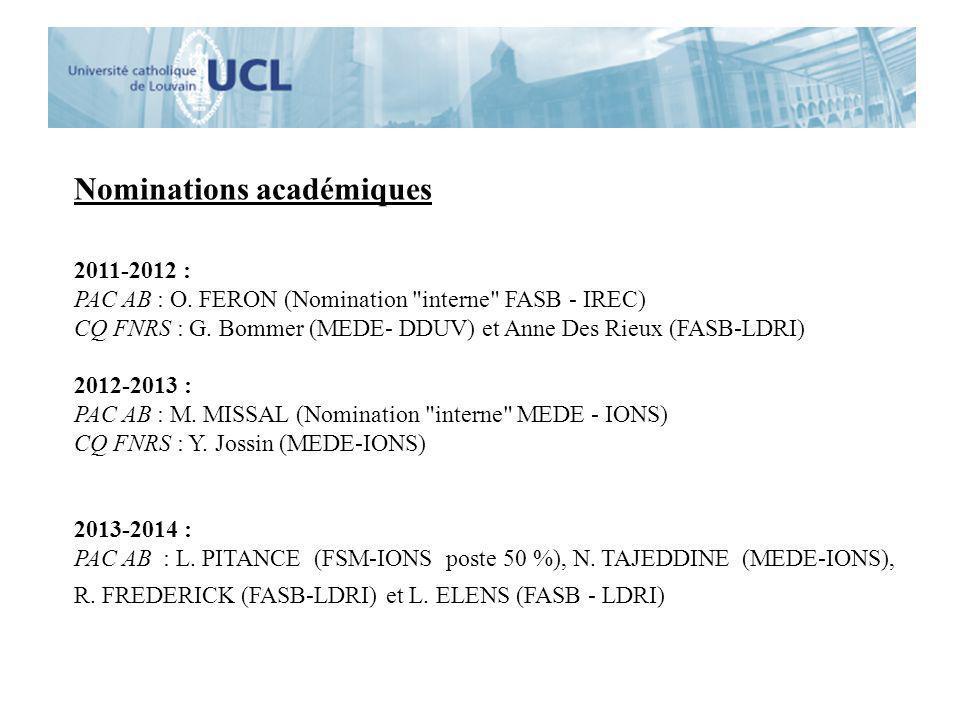 Nominations académiques 2011-2012 : PAC AB : O. FERON (Nomination