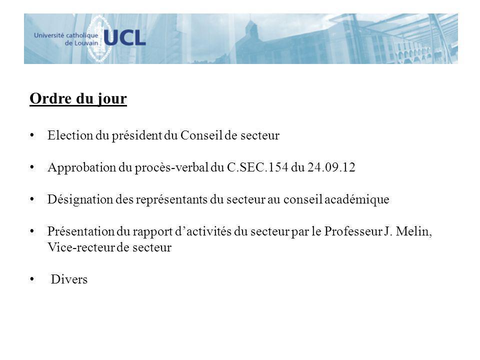 Ordre du jour Election du président du Conseil de secteur Approbation du procès-verbal du C.SEC.154 du 24.09.12 Désignation des représentants du secte