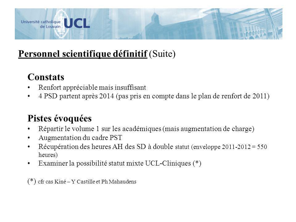 Personnel scientifique définitif (Suite) Constats Renfort appréciable mais insuffisant 4 PSD partent après 2014 (pas pris en compte dans le plan de re