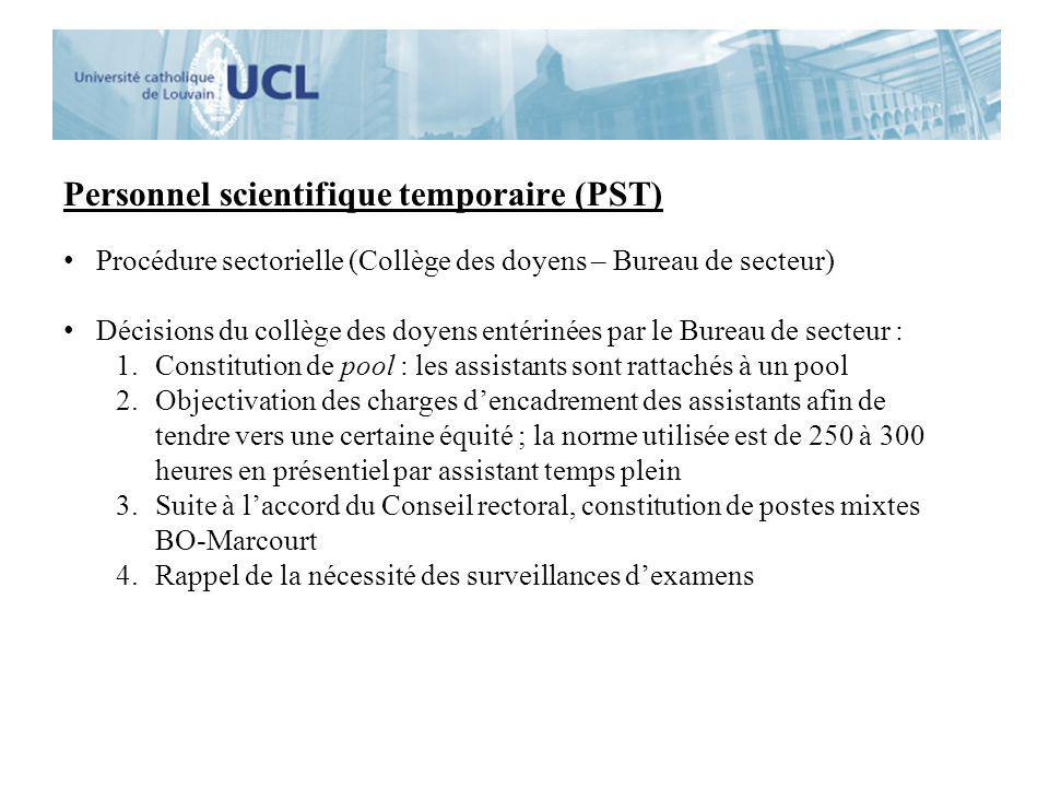Personnel scientifique temporaire (PST) Procédure sectorielle (Collège des doyens – Bureau de secteur) Décisions du collège des doyens entérinées par