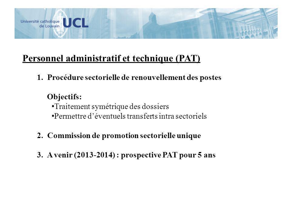 Personnel administratif et technique (PAT) 1. Procédure sectorielle de renouvellement des postes Objectifs: Traitement symétrique des dossiers Permett