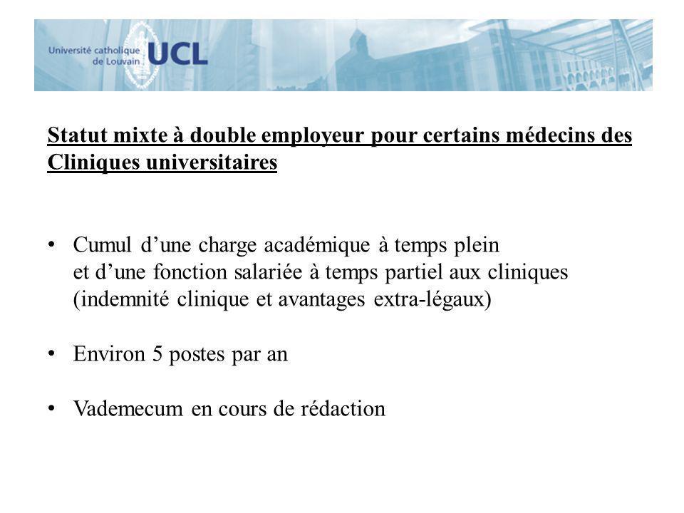 Statut mixte à double employeur pour certains médecins des Cliniques universitaires Cumul dune charge académique à temps plein et dune fonction salari