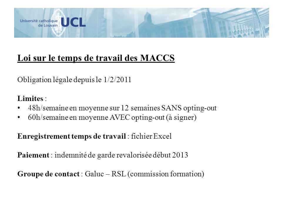 Loi sur le temps de travail des MACCS Obligation légale depuis le 1/2/2011 Limites : 48h/semaine en moyenne sur 12 semaines SANS opting-out 60h/semain