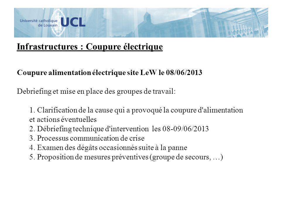 Infrastructures : Coupure électrique Coupure alimentation électrique site LeW le 08/06/2013 Debriefing et mise en place des groupes de travail: 1. Cla