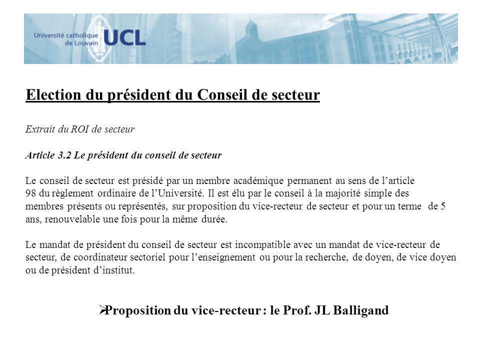 Election du président du Conseil de secteur Extrait du ROI de secteur Article 3.2 Le président du conseil de secteur Le conseil de secteur est présidé