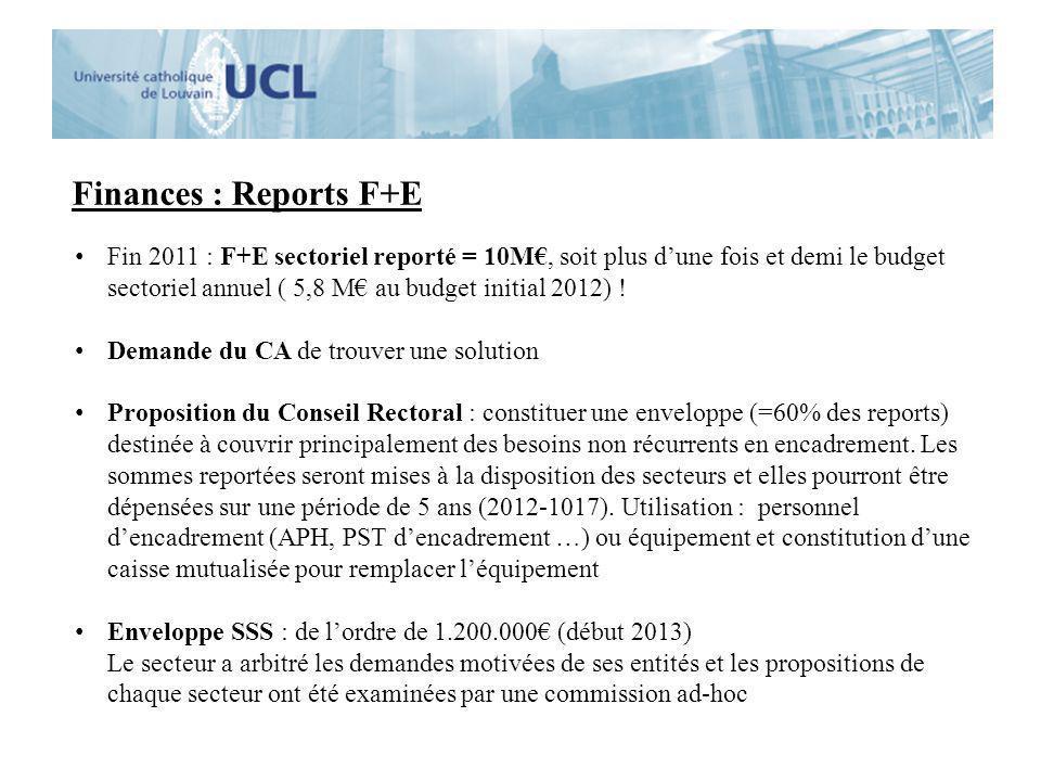 Finances : Reports F+E Fin 2011 : F+E sectoriel reporté = 10M, soit plus dune fois et demi le budget sectoriel annuel ( 5,8 M au budget initial 2012)