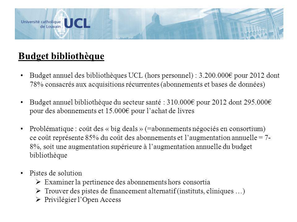 Budget bibliothèque Budget annuel des bibliothèques UCL (hors personnel) : 3.200.000 pour 2012 dont 78% consacrés aux acquisitions récurrentes (abonne