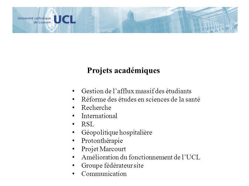 Projets académiques Gestion de lafflux massif des étudiants Réforme des études en sciences de la santé Recherche International RSL Géopolitique hospit